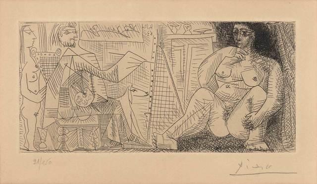 Pablo Picasso, 'Dans L'Atelier: Peintre, Modèle Et Spectatrice (B. 1139; C. Bks. 130)', 1963, Doyle
