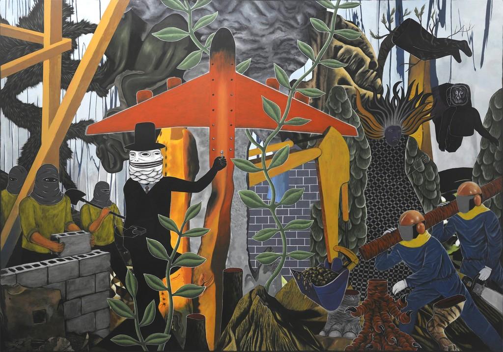 "Rodel Tapaya, ""The Loss of Rivets"", Acrylic on Canvas, 244 x 335 cm, 2018."