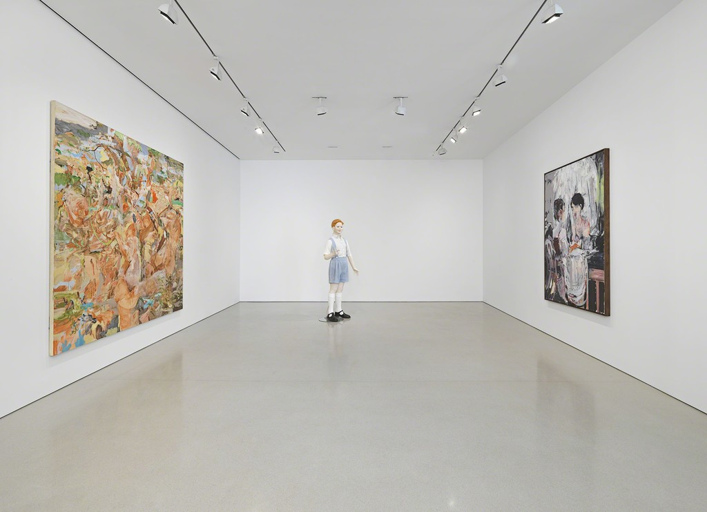 "Installation view of ""Cecily Brown, Jeff Koons, Charles Ray"". Photo by Genevieve Hanson, NYC"