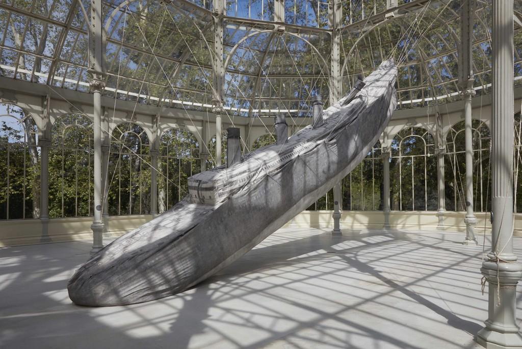 """Installation view, """"Damián Ortega: The Rocket and the Abyss"""" in the Palacio de Cristal, Parque del Retiro. May 2016. Photo: Joaquín Cortés/Román Lores. Museo Nacional Centro de Arte Reina Sofia."""