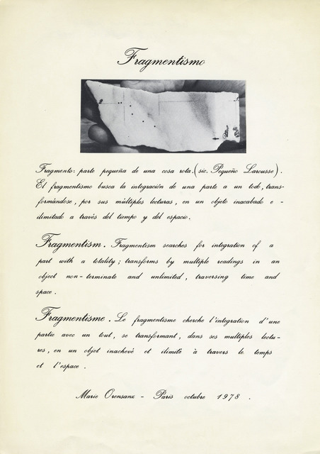 , 'Manifiesto Fragmentismo,' 1978, Alejandra von Hartz Gallery
