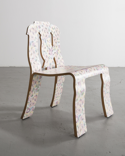 ", '""Empire"" chair in molded plywood with laminated finish in the ""Grandmother"" pattern,' 1984, R & Company"