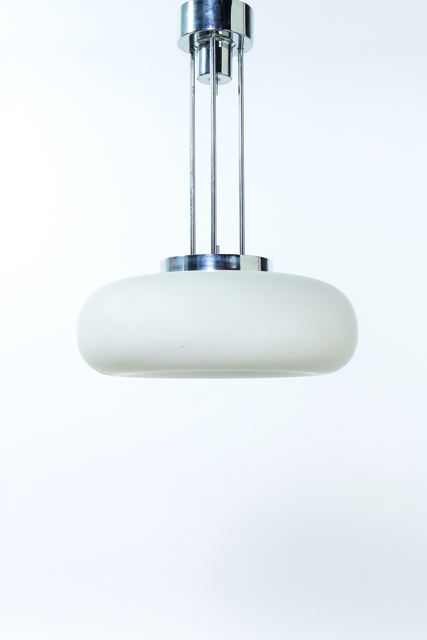 "Fontana Arte, '""2356"" Ceiling lamp in chromed metal and opalin glass', 1964, Leclere"