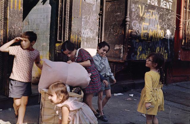 Helen Levitt, 'N.Y.C. (kids with laundry)', 1972, Laurence Miller Gallery