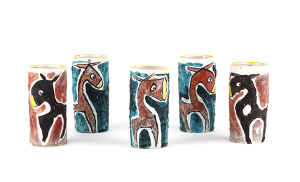 Five glasses with donkeys