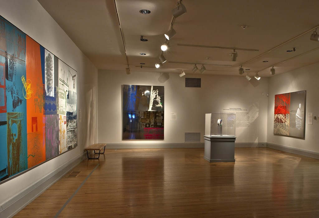 "Installation view of ""Robert Rauschenberg: ROCI Works from the National Gallery of Art""at the Academy Art Museum, Easton, 2015-2016. Photo: George Holzer"