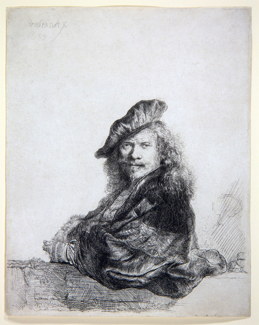 Rembrandt van Rijn, 'Self-portrait leaning on a stone sill ', 1639, Centre for Fine Arts (BOZAR)