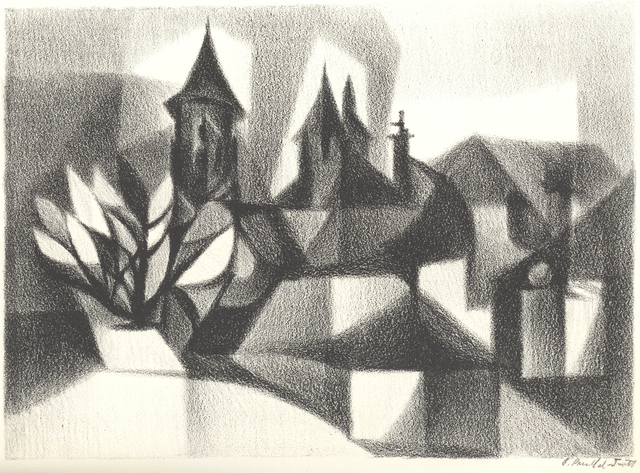 , '[L'Église Saint Pierre Above the Rooftops, Collonges la Rouge],' ca. 1975, Childs Gallery