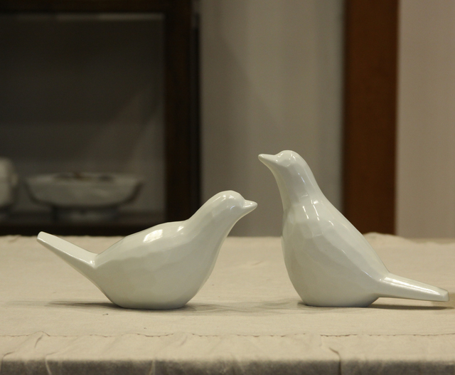 , 'Faceted porcelain bird (male and female),' 2012, Christine Park Gallery