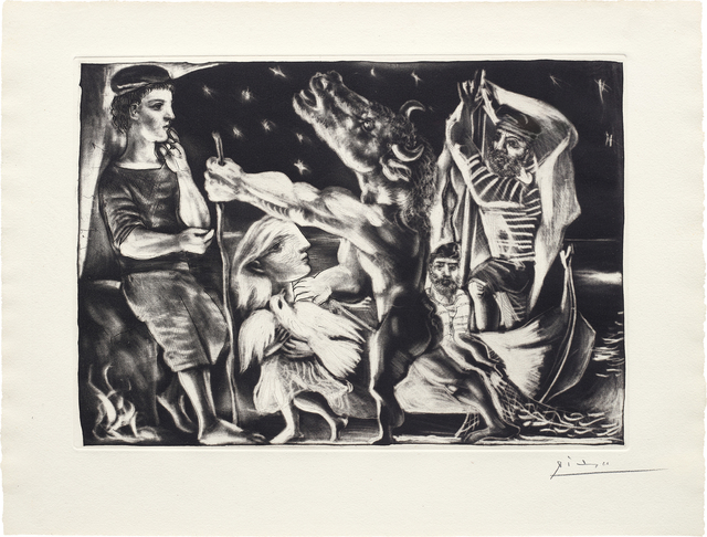 Pablo Picasso, 'Minotaure aveugle guidé par Marie-Thérèse au pigeon dans une nuit étoilée (Blind Minotaur Guided Through a Starry Night by Marie-Thérèse with a Dove), pl. 97, from La Suite Vollard', 1934, Print, Sugar-lift aquatint, scraper, drypoint and engraving, on Montval laid paper watermarked Vollard, with full margins (deckle on two sides)., Phillips