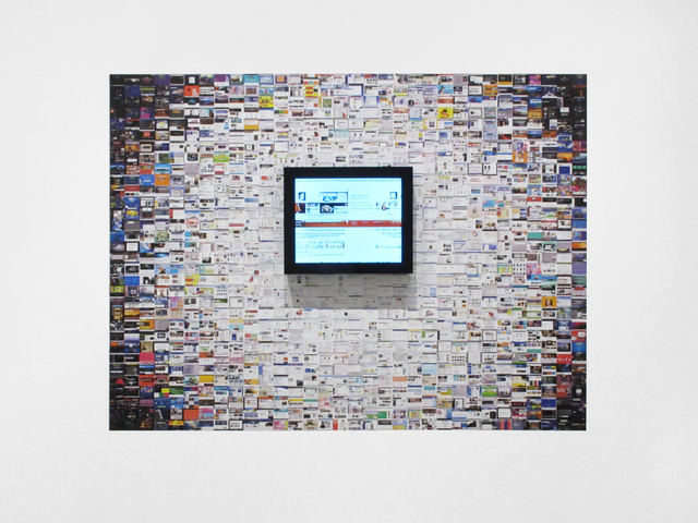 Jason Salavon, 'Narrative Walk (Websites)', 2019, Installation, Wallpaper, real-time video, custom software, framed monitor, Inman Gallery