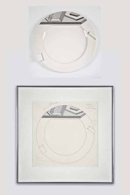 Ettore Sottsass, 'Collectors Set: Lettuce Plate and Drawing for Bloomingdale's', 1985, The Modern Archive