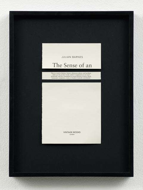 , 'Disclaimers (Julian Barnes: The Sense of an Ending),' 2014, Galeri NON