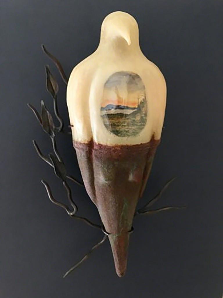 "Jeanne Brennan, Untitled, Sculpture: blown glass, patina, bronze and mixed medium, 20""x11""x8"""