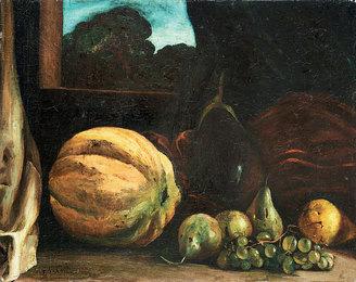 Natura morta con melone, ortaggi e frutta
