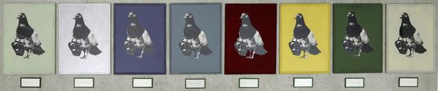 , 'Les Pigeons espions avec les 8 couleurs de camouflage,' 1976, Galerie Nathalie Obadia