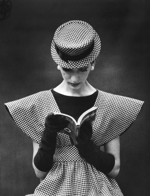Nina Leen, 'Model Wearing Checked Wide Shoulder Top with Matching Hat Reading Book Looking Down', 1959, Contessa Gallery