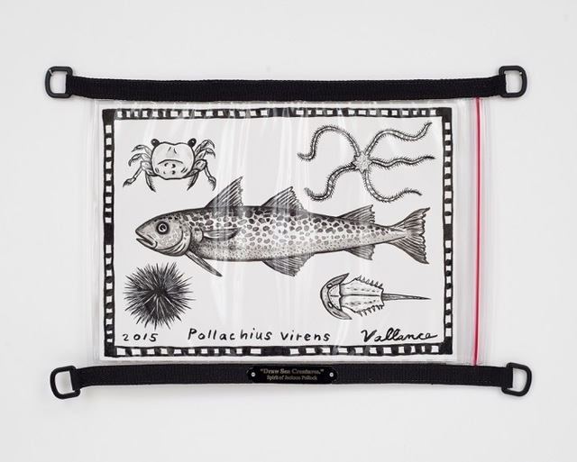 """Jeffrey Vallance, '""""Draw Sea Creatures."""" Spirit of Jackson Pollock', 2015, Mixed Media, Ink on paper in waterproof nautical map pouch with brass title plate, Edward Cella Art and Architecture"""