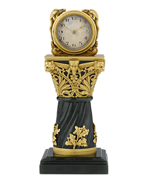 , 'PAUL FREY MINIATURE GOLD AND JADE CLOCK,' 19th Century, M.S. Rau Antiques