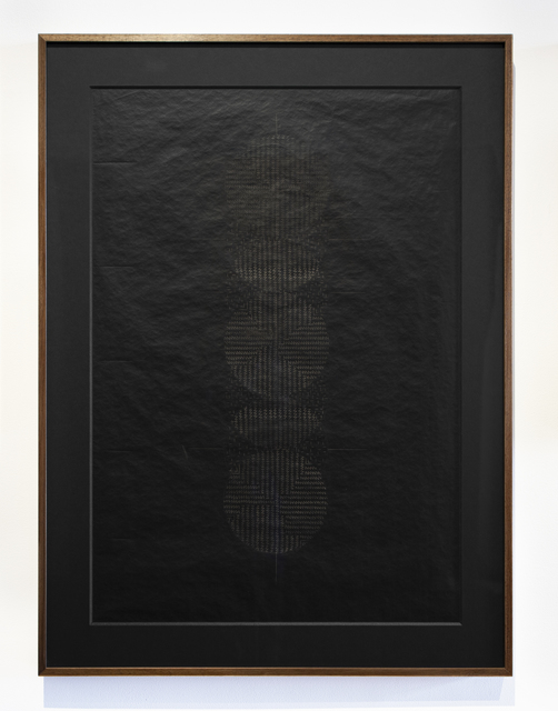 Amina Ahmed, 'Pitch Prieta Knot of Echo', 2012, Drawing, Collage or other Work on Paper, Etched drawing on black coated paper, Jhaveri Contemporary