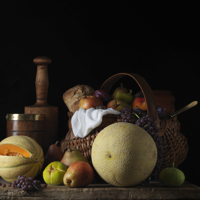 Paulette Tavormina, 'Still Life with Melons and Basket, after L.M. (from the series Bodegón)', 2014, Robert Klein Gallery
