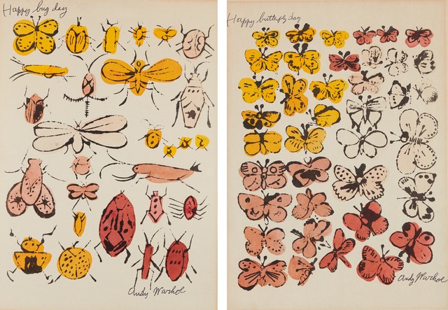 Andy Warhol, 'Happy Bug Day; and Happy Butterfly Day', 1955, Print, Two offset lithographs with extensive hand-coloring in watercolor, on wove paper, with margins, both laid to wove paper, Phillips