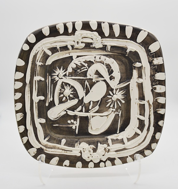 Pablo Picasso, 'Still Life With Spoon (A.R. 165) ', 1952, Design/Decorative Art, Partially glazed white ceramic dish painted in grey and white, Off The Wall Gallery