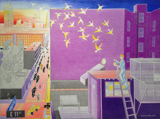 , 'Self-Portrait with Pigeon Coop Looking North,' 2014, P.P.O.W