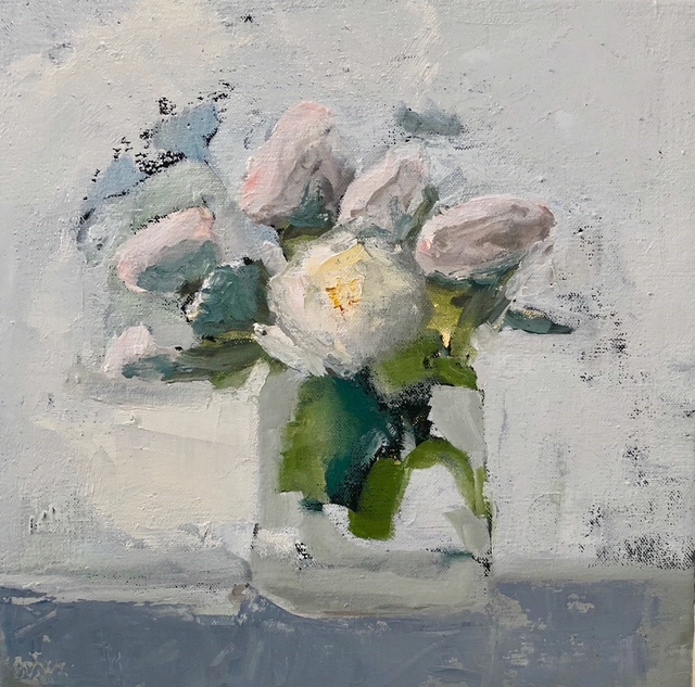 """Anne Harney, '""""Whites"""" oil painting of white roses in a vase', 2018, Eisenhauer Gallery"""