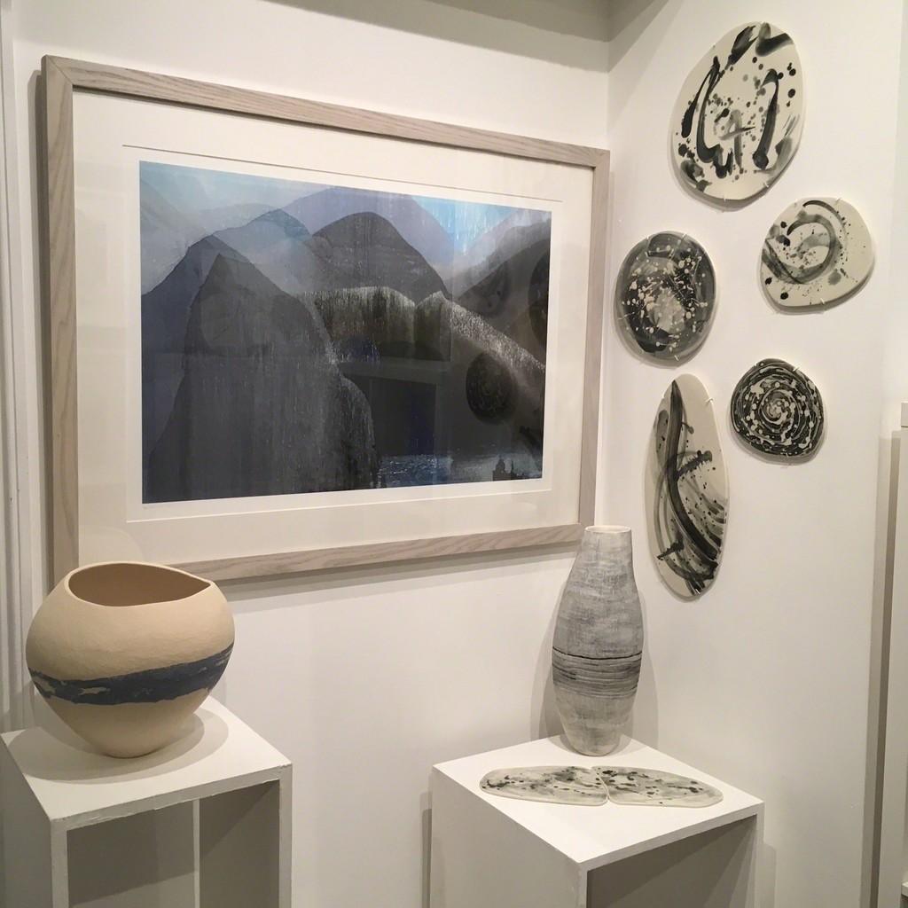 Around Mull, print by Tess Recordon. Ceramics by Kerry Hastings and Jo Heckett.