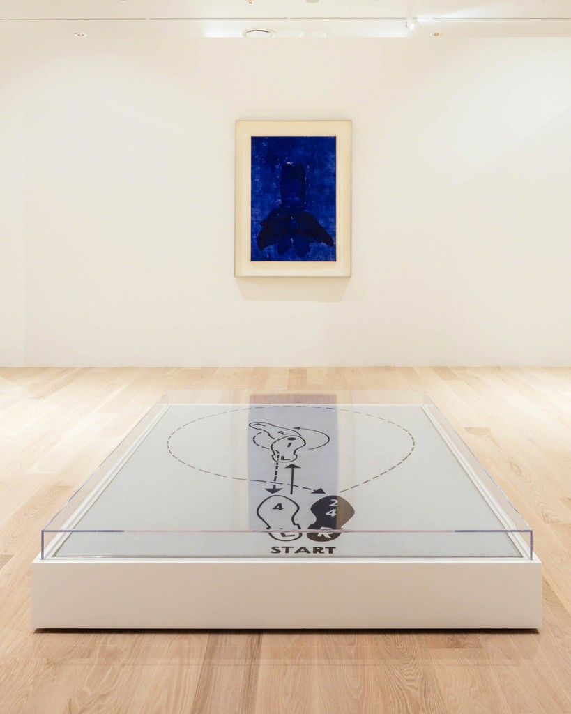"Yves Klein, Untitled Anthropometry (ANT 31), 1960. Dry pigment and synthetic resin on paper, mounted on canvas. Collection of Paul and Trudy Cejas. Andy Warhol, Dance Diagram [3] [""The Lindy Tuck-In Turn-Man""], 1962. Casein on linen. Courtesy The Broad Art Foundation, Los Angeles. Installation view: ""The Everywhere Studio,"" Institute of Contemporary Art, Miami, Dec 1, 2017–Feb 26, 2018. Photo: Fredrik Nilsen Studio."