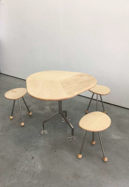 , 'Cafe Table and three short stools,' 2017, GRIMM