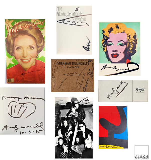 """Andy Warhol, 'SET of 8- """"Andy WARHOL, 1950-1980's, SIGNED Ephemera Items UNIQUE.', 1955-1986, Drawing, Collage or other Work on Paper, Ink on Paper, VINCE fine arts/ephemera"""