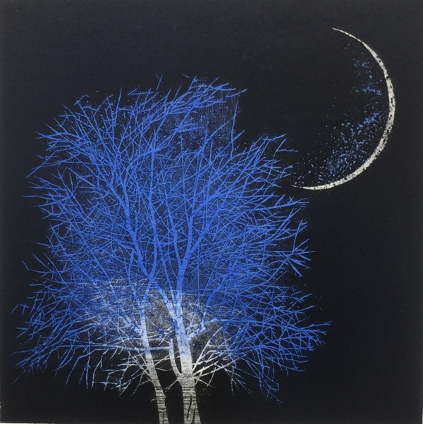, 'Moon and Tree in Ancient City - blue large,' , Wetpaint Gallery
