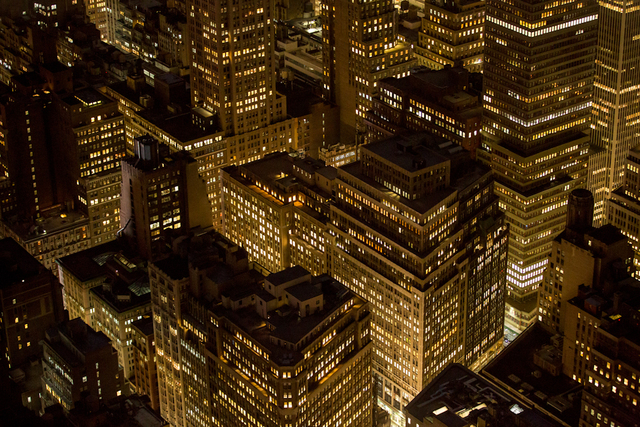 , 'This photograph was taken from the 86th floor of the Empire State Building, looking uptown. It's reminiscent of Berenice Abbott's famous Night View, 1932, taken from the same vantage point but looking downtown.,' 2014, Anastasia Photo