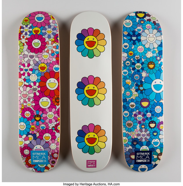 Takashi Murakami, 'Multi Flower 8.0 Skate Decks (Blue, Pink, and White) (three works)', 2016, Print, Screenprints in colors on skate decks, Heritage Auctions