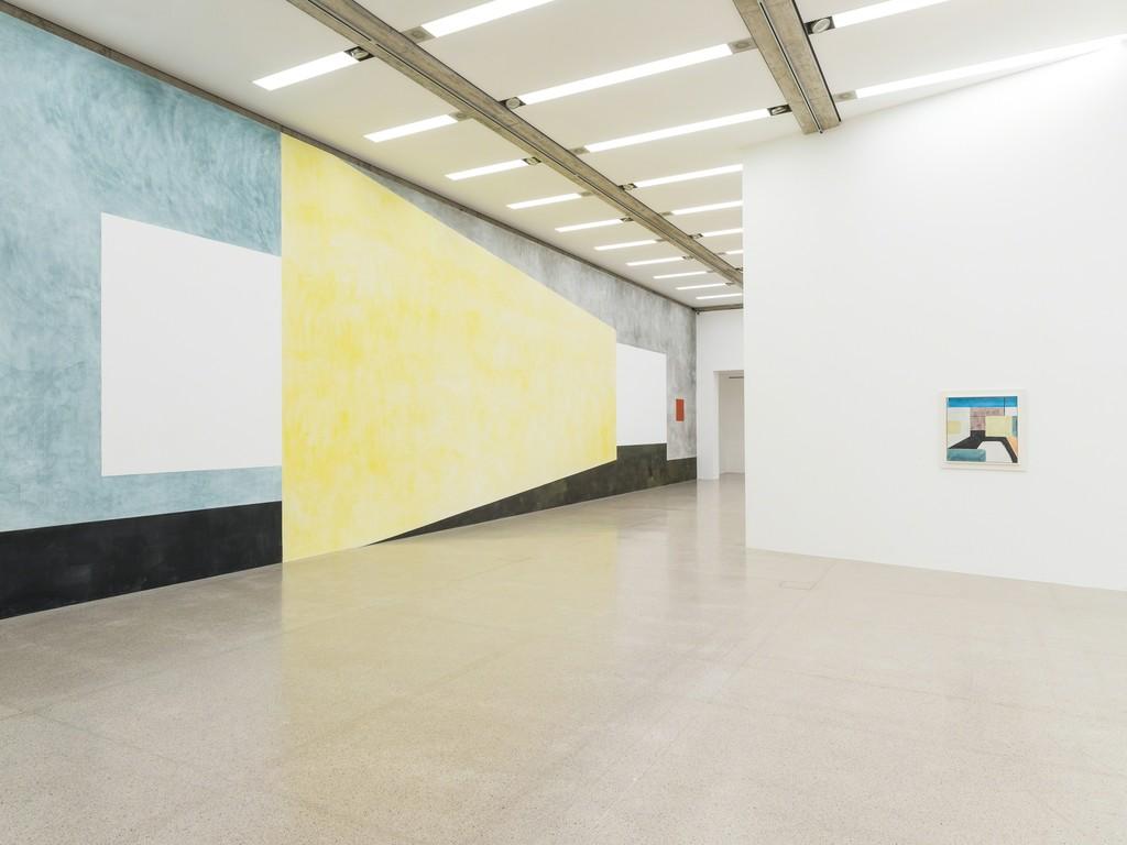 Ausstellungsansicht / Installation view Ernst Caramelle. Ein Résumé / A Résumé, mumok, 30.11.2018–28.4.2018 Wandmalerei / Wallpainting: O.T. (Untitled), 2018, Pigmente, Wasser auf Wand / Pigments, water on wall Photo: Klaus Pichler © mumok