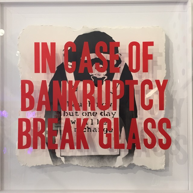 Thirsty Bstrd, 'In Case of Bankruptcy: Laugh Now Monkey ', 2018, Mixed Media, Spray paint, plaster and polystyrene in perspex case, Reem Gallery