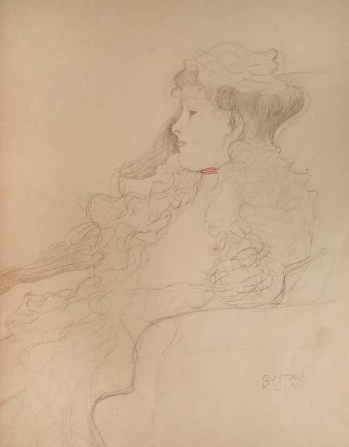 Gustav Klimt, 'Sketched Portrait: Lady with Scarf', 1919, Wallector