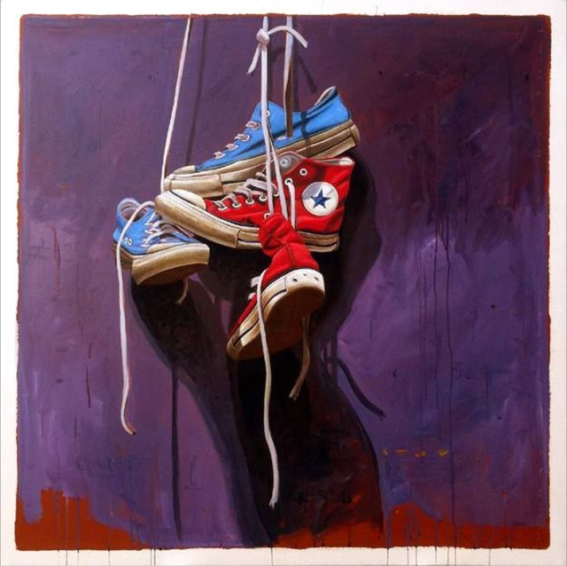 """, '""""#558"""" Old Red and Blue Chuck Taylor Sneakers on Laces Dark Purple Background ,' 49-49, Eisenhauer Gallery"""
