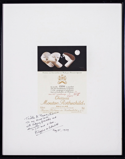 , 'Chateau Mouton Rothschild Wine Label Poster HAND SIGNED & INSCRIBED BY BARONESS PHILIPPINE DE ROTHSCHILD,' 1989, Alpha 137 Gallery