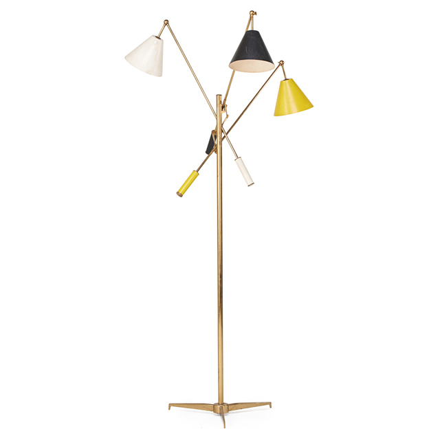 Angelo Lelii, 'Three-Arm Adjustable Floor Lamp, Italy', 1950s, Rago/Wright