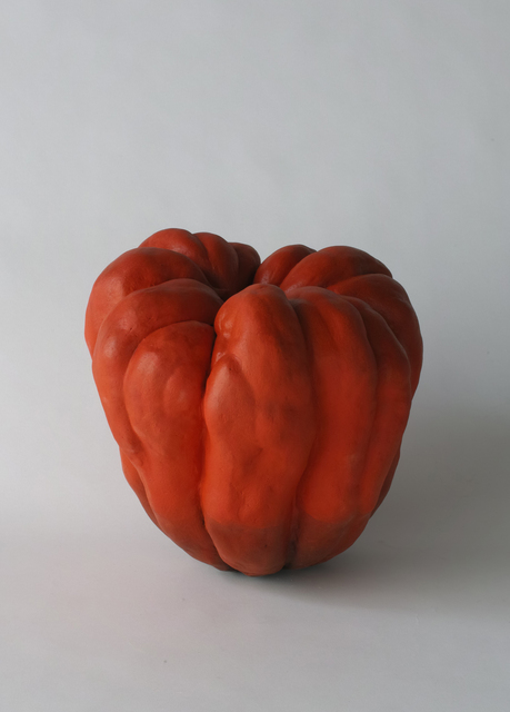 , 'Biomorphic sculpture in the form of a pumpkin with matte glazes in red and black,' 2015, Joan B. Mirviss Ltd.