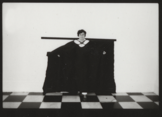 ", 'Photographic documentation of the performance""Hábito Habitante"",' 1985, Galeria Jaqueline Martins"