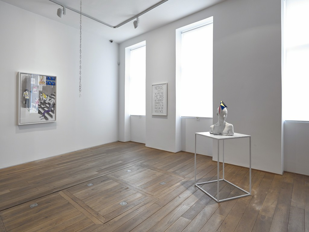 Installation view of Charles Avery's solo exhibition 'The People and Things of Onomatopoeia' Ingleby Gallery, Edinburgh
