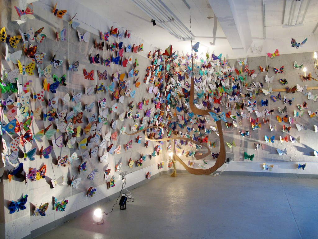 Yun-Mo Ahn and Jacque Jarrige's  Butterfly project featuring 1000 butterflies  created by children with autism