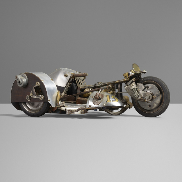 'Motorcycle model', c. 1950, Other, Steel, aluminum, brass, rubber, chrome-plated steel, stained ash, leather, Rago/Wright