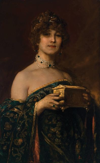 """Jean Joseph Benjamin Constant, 'Lady with a Jewel Box (Prima Donna Marguerite in """"Jewel Song"""" of Gounod's 'Faust'', Doyle"""