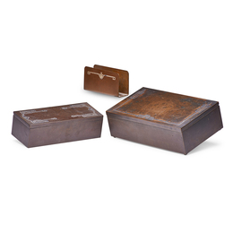 Two Sterling-On-Bronze Humidors And One Letter Holder In Various Patterns, USA