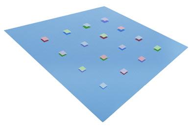 Kleine Viererpermutation auf Blau